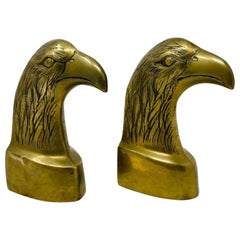 Brass Polished American Eagle Bookends 1970s