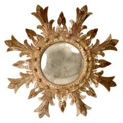 Vintage Starburst Mirror with Bull's Eye Mirror