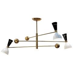 Orbitale Brass Chandelier 3 Rotating Balanced Arms, Ivory Black Twin Shades