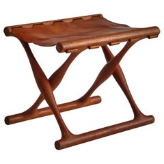 """Danish Modern """"Gold Hill"""" Stool in Oak and Saddle Leather by Poul Hundevad, 1960"""