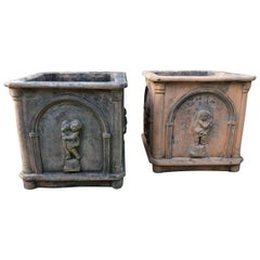 Pair of Antique Heavy Stone French Planters