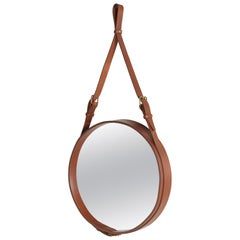Jacques Adnet Small Circulaire Mirror with Brown Leather