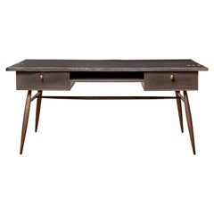 Handcrafted Sculptural Blackened Oak Desk with Copper Staples