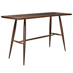 Handcrafted Live Edge Blackened Oak Console Table with Copper Staples