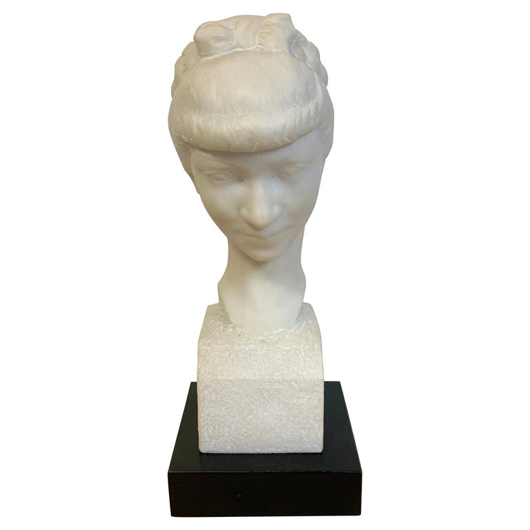 French Modern Marble Portrait Bust of a Lady, by L. Cordonnier, 1951  For Sale