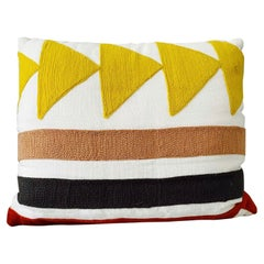 Embroidered Linen Pillow with Geometric Motif in Pierre Frey's Indiana Textile