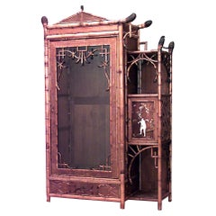 English Victorian Bamboo and Rosewood Armoire