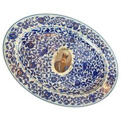 Persian Market Porcelain Platter Portrait Nasr Al Din Shah Qajar 20th C
