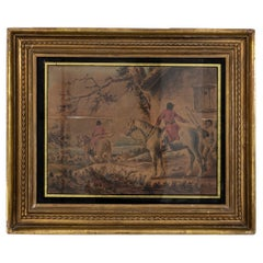 Vintage Watercolor Painting of Hunters on Horses with Dogs