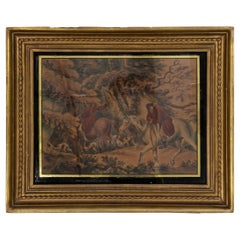 Vintage Watercolor Painting of Hunters on Horses