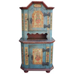 Floral Painted Light Blue Cabinet, Cenral Europe, 1839