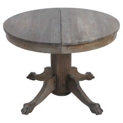 English Edwardian Cerused Oak Circular Claw Foot Center/Dining Table with Leaves