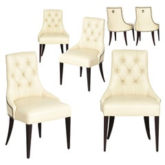 Thomas Pheasant for Baker Furniture Company Tufted Cream Ritz Dining, Side Chair