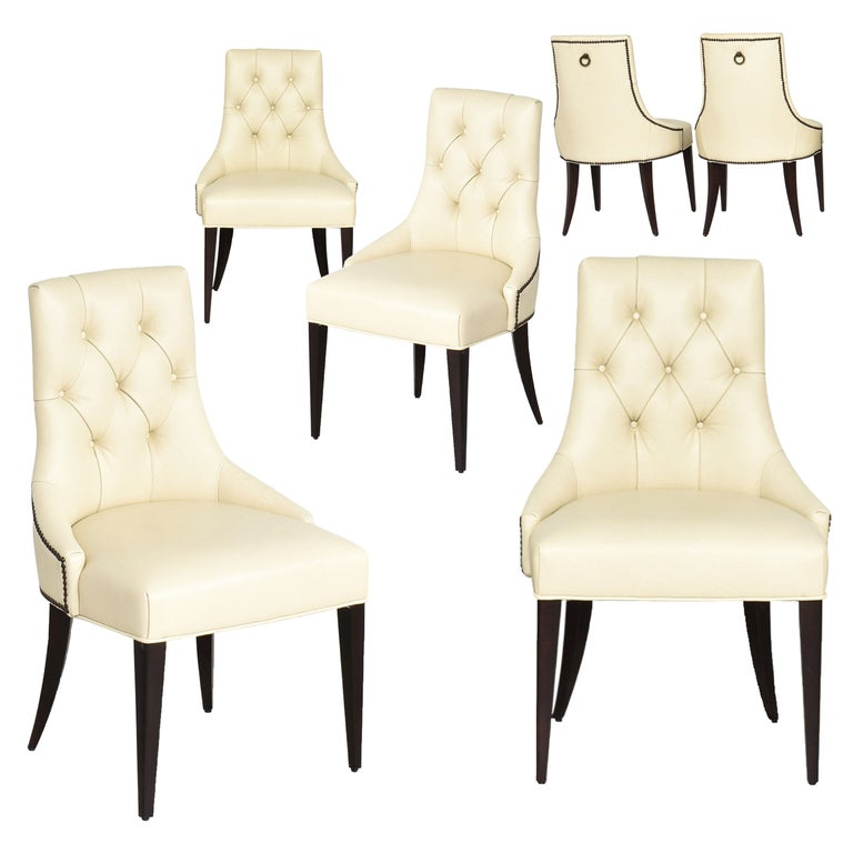 Thomas Pheasant for Baker Furniture Company Tufted Cream Ritz Dining, Side Chair For Sale