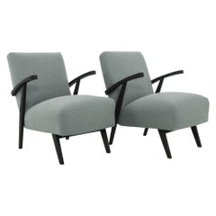 1960s Czechoslovakian Upholstered Wooden Armchairs by TON, a Pair