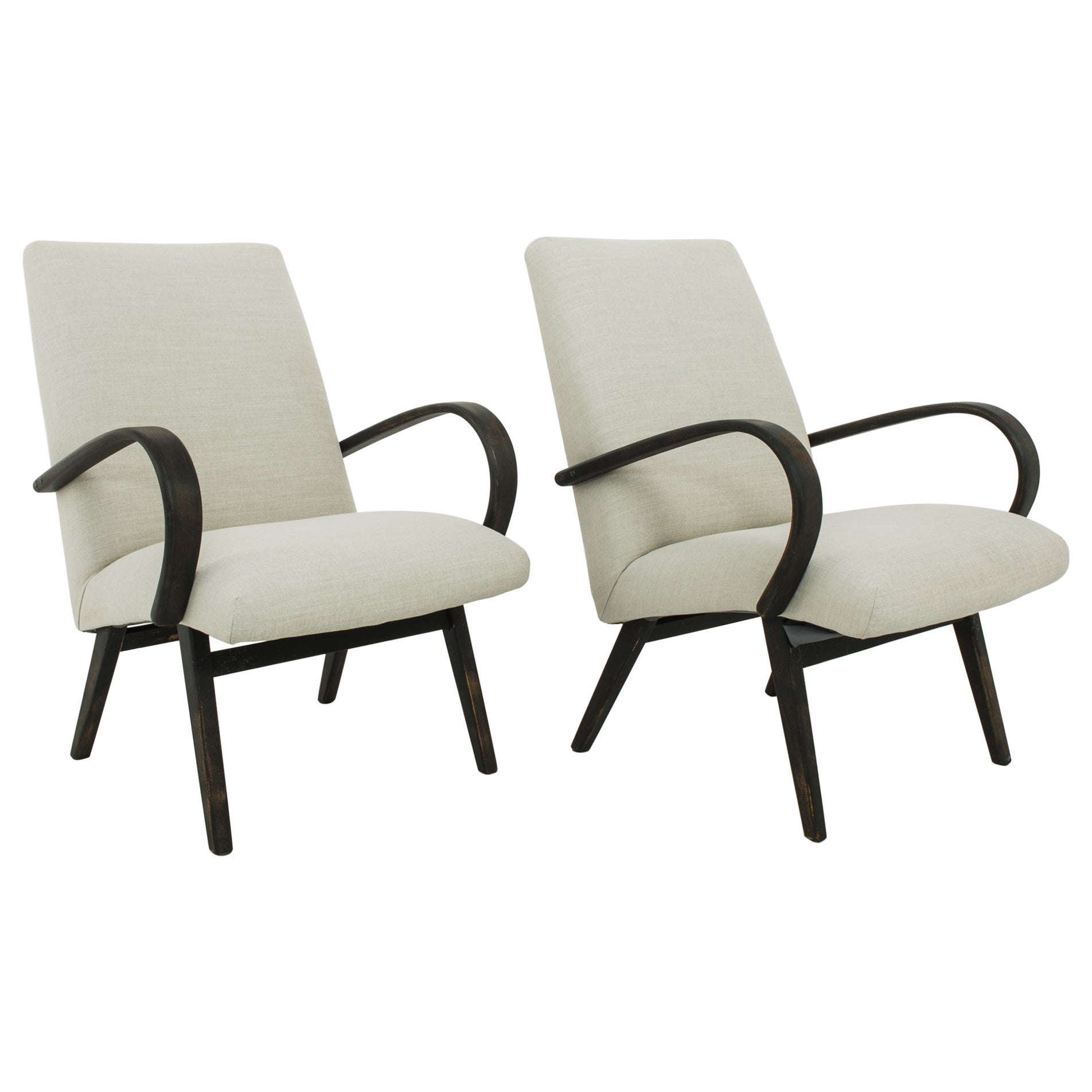 Mid-Century Czech Upholstered Lounge Chairs, a Pair
