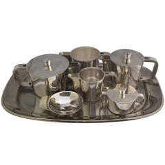 Extensive Silver Plated Gio Ponti Coffee and Tea Set on a Tray, for Arthur Krupp