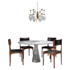 Mangiarotti Dining Room Set with Gibelli Chairs and Stilnovo Style Lamp, Italy