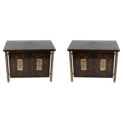 Pair of Mid-Century Burl Wood End Tables