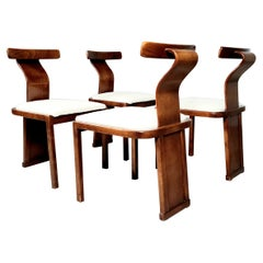 Set of 4 Walnut and Boucle Dining Chairs from Italy, 1960s
