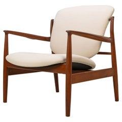 Danish Modern 1950 by Finn Juhl Lounge Chair Teak Wool Fabric Cream White