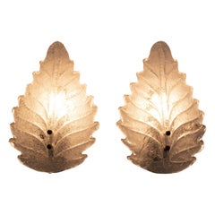 Pair of Art Deco Style Italian Murano Glass Leaf and Wall Sconces, 1950s