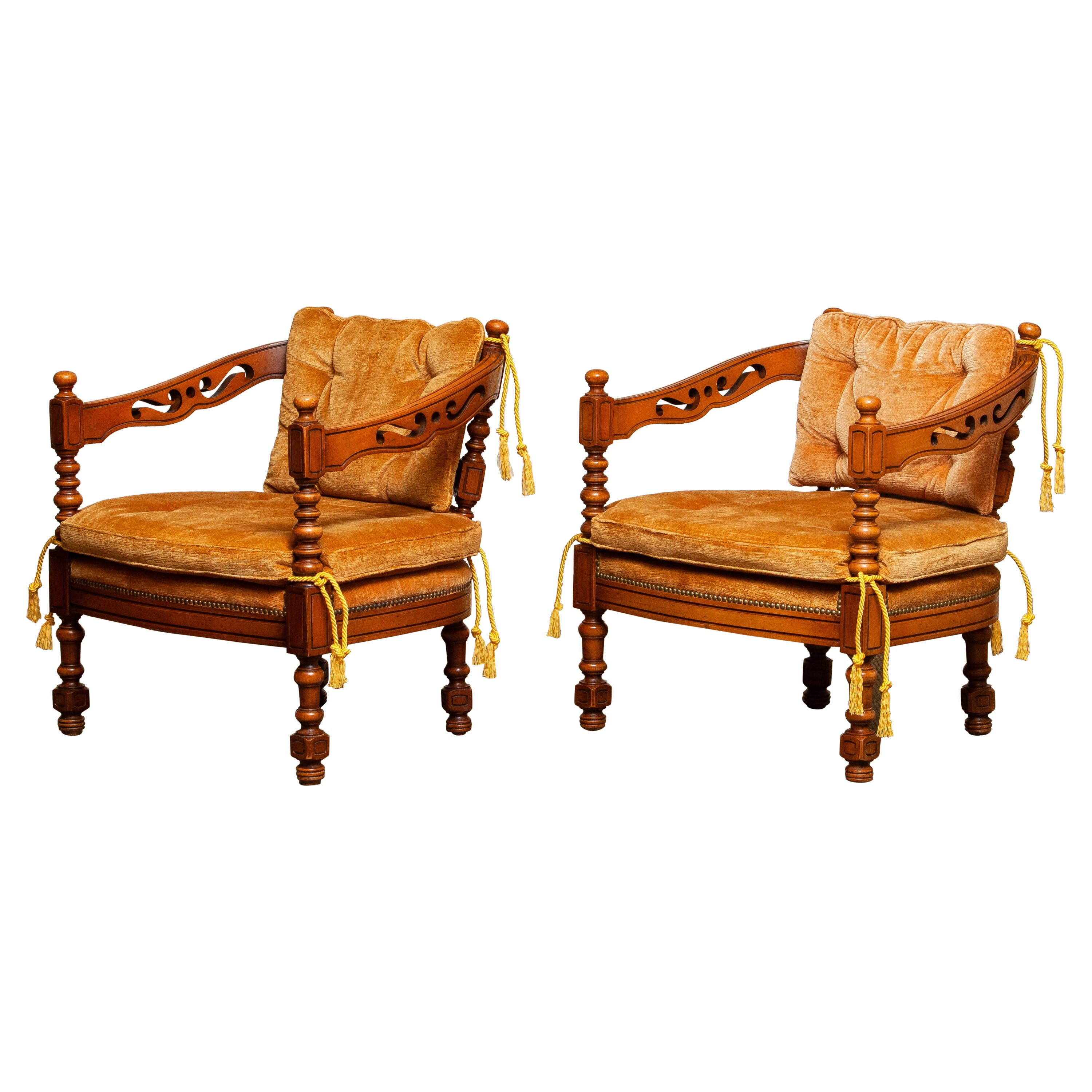 1970s, Set Giorgetti Arm Lounge Club Chairs of the Gallery Collection, Italy