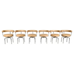 Set of 6 Lc7 Swivel Chairs by Charlotte Perriand for Cassina, 1990s