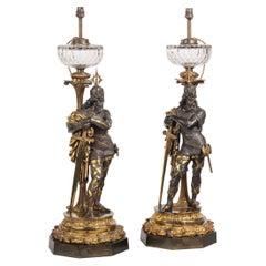 Very Fine Pair of Mid-Victorian Parcel Gilt Bronze Oil Lamps, by Hinks