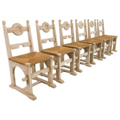 Vintage Belgian Bleached Oak Dining Chairs, Set of Six