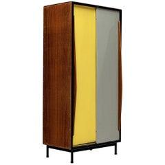 Willy Van Der Meeren Cabinet in Wood and Colorful Metal Doors