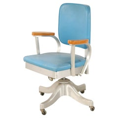 Shaw Walker Co. Mid-Century Blue Faux Leather and Steel Rolling Office Chair