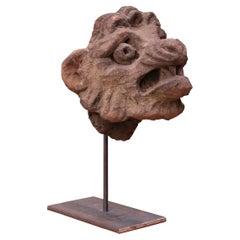 Carved Stone Antique Lion Head Sculpture