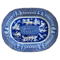 Neo-Classical Greek Pattern Blue Printed Large Dish, Herculaneum, Liverpool