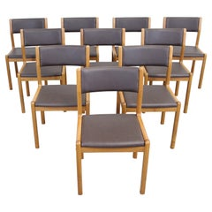 Set of 10 Danish Modern JL Moeller Teak Side Dining Chairs