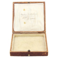 Carrington & Co Antique Victorian Leather and Velvet Ring Box, 1890's