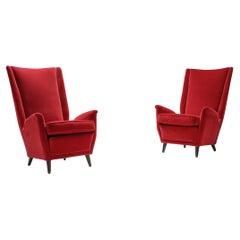 Set of 2 Mid-Century Italian Red Armchairs by Gio Ponti, 1950s