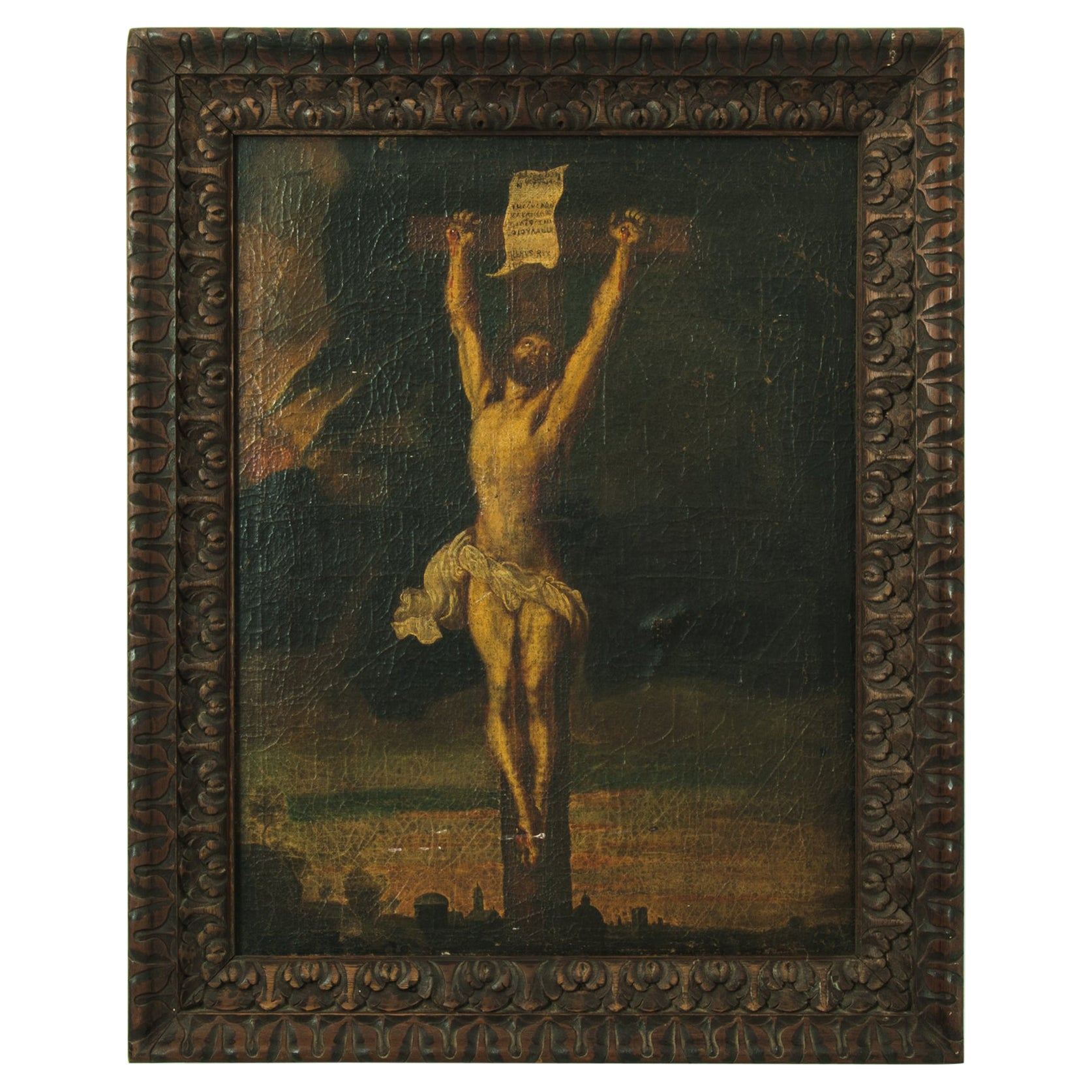19th Century Belgian Devotional Painting in Wooden Frame