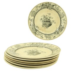 Set of 7 English Victorian Black and Cream Floral Transferware Plates