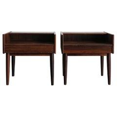 Melvin Mikkelsen Scandinavian Dark Wood Bedside Tables for Haslev Møbler 1960s