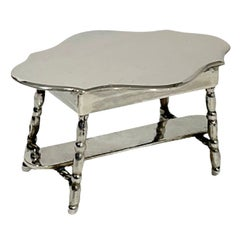Dutch Silver Miniature Table by Hooijkaas, Schoonhoven for a Doll's House