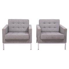 Florence Knoll Pair of Grey Wool Armchairs