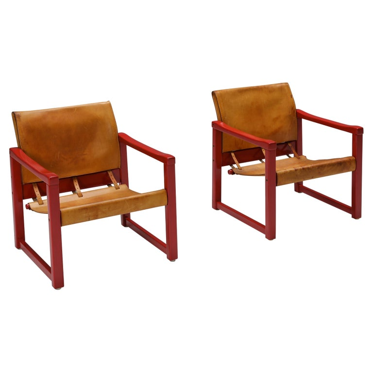 Set of Cognac Leather Karin Mobring Safari Chair Model Diana by Ikea in Sweden For Sale