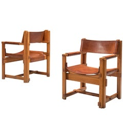 Joan Pou Pair of Spanish Armchairs in Pine and Cognac Leather