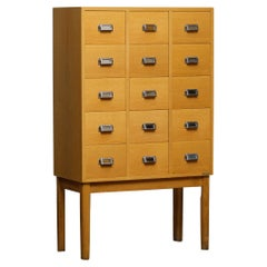 1970s, Oak Drawer Archive Cabinet in Oak and Beech by Lövgrens Traryd, Sweden