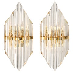 Pair of Crystal Glass Wall Lights in Venini Style, Italy, 1970s