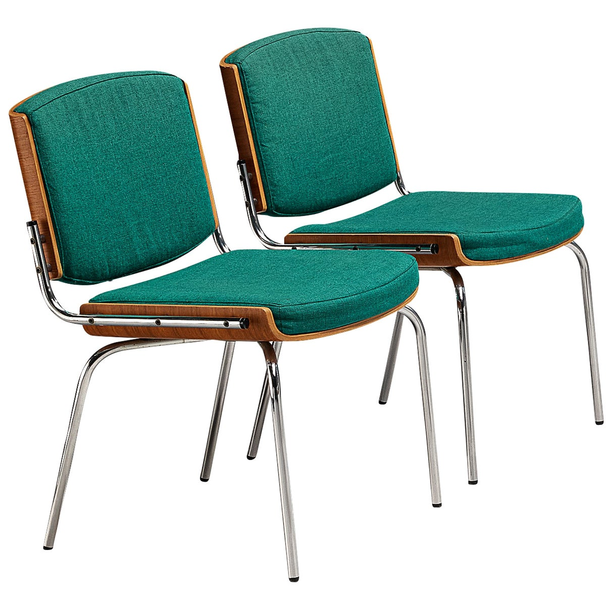Pair of Danish Chairs in Teak and Green Upholstery