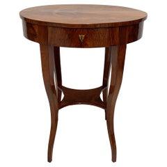 Oval Biedermeier Side Table, Walnut, Maple, Brass, Austria, Vienna, circa 1825