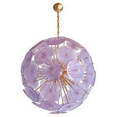Purple Iridescent Murano Disc Sputnik Mid Century Chandelier Vistosi Styl, Italy