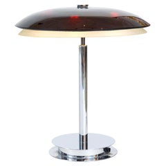 Fontana Arte Bis Table Lamp with Chrome Base and Black Glass, Italy, 1960s